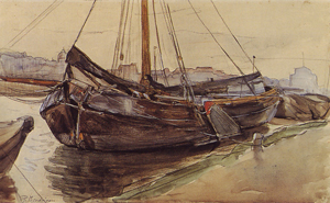 Mondrian A203 Tjalk with Rigging Moored on the Weesperzijde, c.1898-99