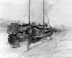 Mondrian A204 Tjalks Moored on the Weesperzijde, 1902