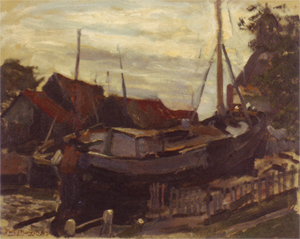 Mondrian A208 Drydock at Durgerdam, oil sketch, c.1898-99