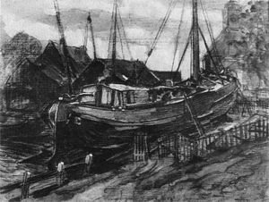 Mondrian A209 Drydock at Durgerdam, mixed media, c.1898-99