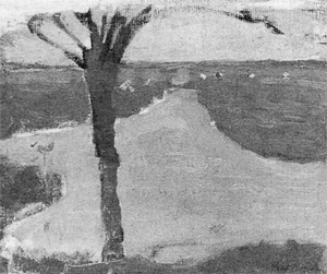 Mondrian A211 Irrigation Ditch with Young Pollarded Willow, oil sketch I, 1900