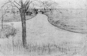 Mondrian A214 Irrigation Ditch with Young Pollarded Willow, drawing II, 1900