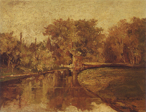 Mondrian A21 Stream Bordered by Wooded Landscape, c.1894-96