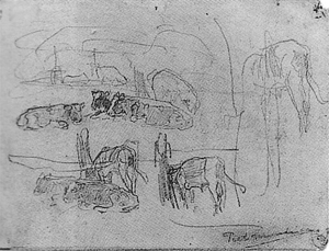 Mondrian A221 Sketches of Standing and Reclining Cows, c.1900-01
