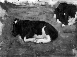 Mondrian A226 Polder Landscape with Two Cows, c.1901-02