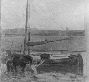 Mondrian A234 Polder with Moored Boat near Amsterdam II, 1900-01
