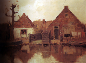 Mondrian A251 Two Gabled House Façades along a Canal, c.1900-02