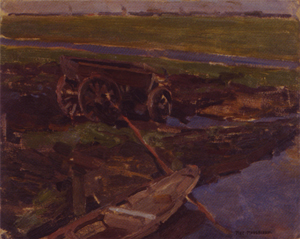Mondrian A278 Op Het Land (On the Land), oil study, 1903
