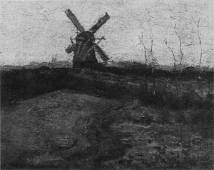 Mondrian A280 Windmill with Curch Towers in the Distance, c.1902-03