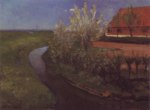 Mondrian A283 Curved Irrigation Ditch Bordering Farmyard with Flowering Trees, c.1902