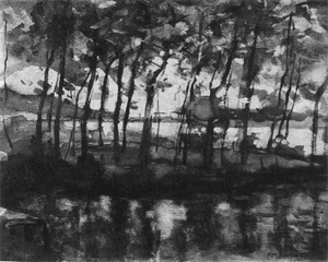 Mondrian A292 Young Tree Grove amidst Water Reflections, 1902-05