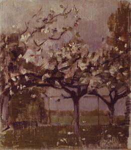 Mondrian A293 Blossoming Trees before a Haystack, c.1902-05