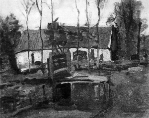 Mondrian A297 Farm Building with White Side Façade, c.1905