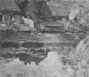 Mondrian A304 Buildings along the Water with a Wash Stoop, c.1905