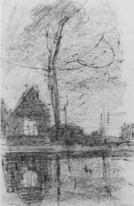 Mondrian A307 Tall Tree and Gabled Building behind a Water Course, c.1905