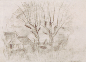 Mondrian A309 Sketch of Two Willows with Buildings at Left, c.1905