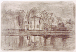 Mondrian A311 Tall Buildings on the Water Sheltered by Trees, c.1905