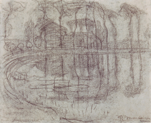 Mondrian A312 Bend in a River with Farmstead Sheltered by Trees, c.1905