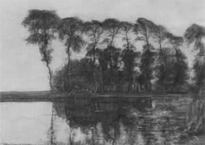 Mondrian A313 Farmstead along the Water Screened by Nine Tall Trees, c.1905