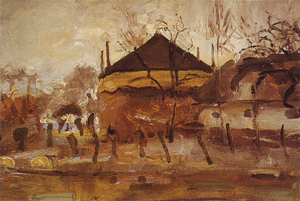 Mondrian A320 Barn and Haystack behind Row of Willows, oil sketch, c.1905