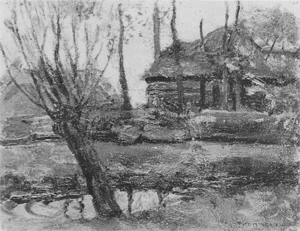 Mondrian A321 Farmyard Sketch with Pollarded Willow at Left, c.1905