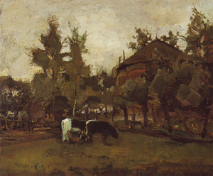 Mondrian A322 Farmyard Sketch with Two Cows Grazing, c.1905