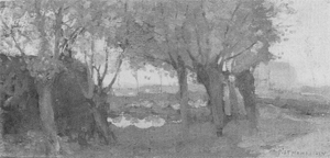 Mondrian A324 Willows Bordering a Watercourse, Buildings Left and Right, c.1902-03