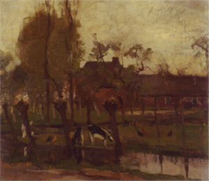 Mondrian A328 Farmstead with Willows on the Water II, c.1903