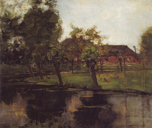 Mondrian A329 Farmstead with Willows on the Water III, c.1903