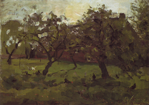Mondrian A330 Apple Tress and Chickens in a Farmyard, c.1905