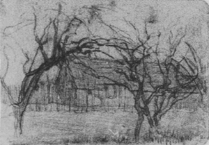 Mondrian A331 Farm Building behind Arched Trees, c.1905