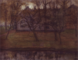 Mondrian A332 Farmstead behind Waterway and Orchard, c.1905
