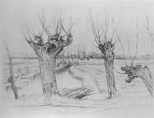 Mondrian A335 Three Pollarded Willows, Irrigation Ditch and Farmstead in the Distance, c.1905