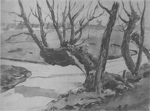 Mondrian A336 Old Pollarded Willow, Irrigation Ditches and Buildings in the Distance, c.1905
