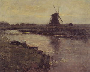 Mondrian A342 Ooszijdse Mill with Woman at Dock of Landzicht Farm, c.1902-03