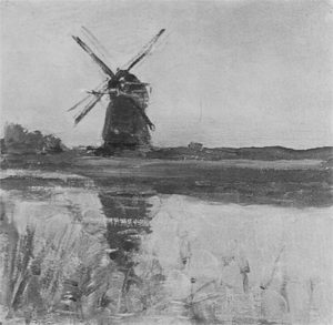 Mondrian A344 Ooszijdse Mill, oil sketch in square format, c.1902-03