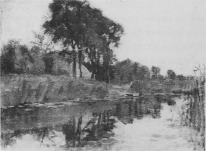 Mondrian A345 Landzicht Farm Viewed from Downstream with Visible House Gable, c.1902-03