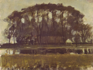 Mondrian A348 Farmhouse along the Water Shielded by Arch of Trees I, c.1902-03