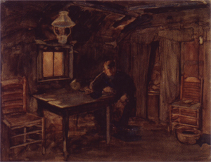 Mondrian A353 Hannes van Nistelrode Seated in His Farmhouse, 1904