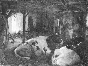 Mondrian A358 Two Cows Lying in a Brabant Barn, c.1905