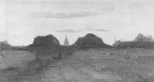 Mondrian A35 Field with Church Tower and Haystack, c.1894-96