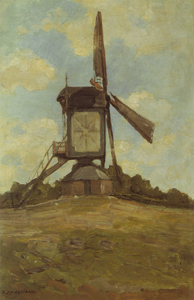 Mondrian A369 Post Mill at Heeswijk, Side View, 1904