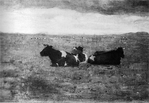 Mondrian A372 Landscape with Three Reclining Cows, 1904