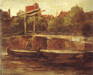 Mondrian A41 Waals-Eilandgracht with Bridge and Flat Barges, c.1895-96