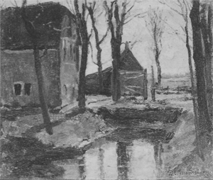 Mondrian A42 Farm Buildings with Trees and Water Ditch, c.1895-96
