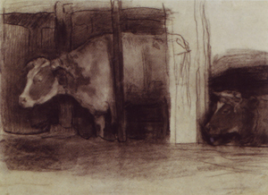 Mondrian A54 Two Cows in a Pot Stall, c.1898-99