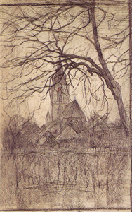 Mondrian A59 St. Jacob's Church with Tree at Right, Winter, c.1897-98