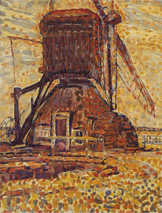 Mondrian A653 The Winkel Mill, pointillist version, 1908