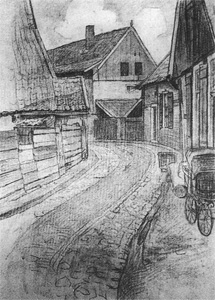 Mondrian A65 The Lappenbrink, View toward the Meddose-straat, Drawing, c.1899