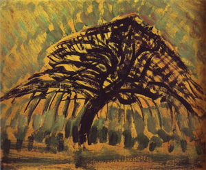Mondrian A668 Oil Sketch for Blue Apple Tree Series, c.1908